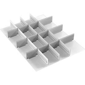 Schubladeneinsatz Treston, 3 Unterteiler & 12 Mittelplatten, B 700 mm, für Serie 70 mit H 750 mm