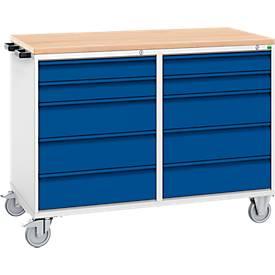 Schubladenschrank, 10 Schubladen, fahrbar, mit Holzauflage