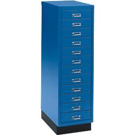 Schubladenschrank DIN A4, mit 12 Schubladen, 940 mm hoch, enzianblau