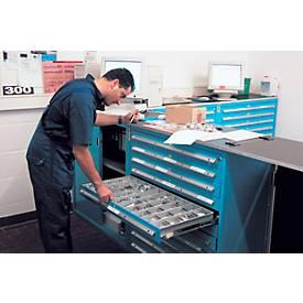 Schubladenschrank, für Regalsystem R 2000, 2 x H 90 mm + 14 x H 60 mm