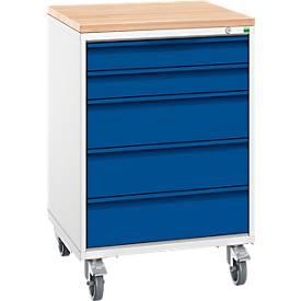Schubladenschrank Serie Verso, fahrbar, 5 Schubladen, H 980 x B 650 mm, mit Holzauflage