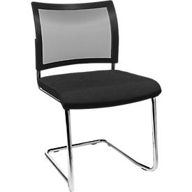SEAT POINT sledestoel, net, zonder armleuningen, stapelbaar, 2 stuk, zwart