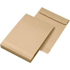 Seitenfaltentaschen, 40 mm, haftklebend, DIN C4, 100 Stück, natronbraun