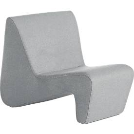 Sessel LinkUp, hochfeste Holzunterkonstruktion, mit Holzfüßen, hellgrau