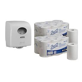 Set avantageux : Scott control Slim 12 rouleaux de papier essuie main + distributeur AQUARIUS