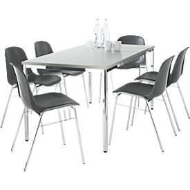 Set de 6 chaises anthracite Beta + table