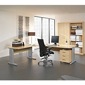 SET Komplettbüro BARALONIS, 2 x C-Fuß-Schreibtisch, Verkettungsplatte, Container, Aktenschrank,