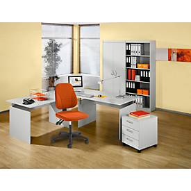 SET Komplettbüro BARALONIS, 2 x Wangenschreibtisch, Verkettungsplatte, Container, Aktenschrank,