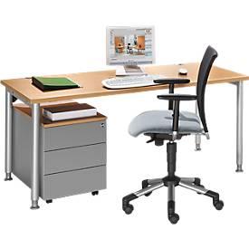 Set MODENA, Schreibtisch versch. Ausführungen, Rollcontainer mit Griffnut