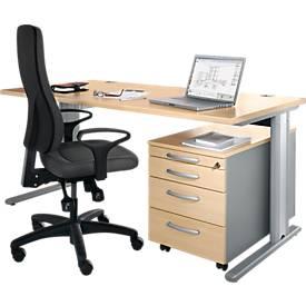 Set PLANOVA BASIC, Schreibtisch B 1600 mm + Rollcontainer
