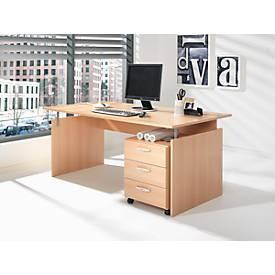 SET Schreibtisch, Wangen, Rechteck und Rollcontainer