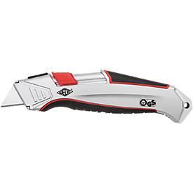 Sicherheitsmesser Wedo® Safety Cutter ALU, automat. Klingenrückzug, für Rechts-/Linkshänder, mit Ersatzklinge