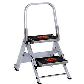 Sicherheitstreppe, mit Bügel, Aluminium, 2 Stufen