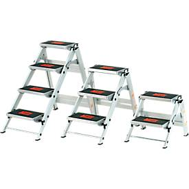 Sicherheitstreppe, ohne Bügel, aluminium, 2 Stufen