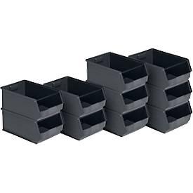 Sichtlagerkasten 14/7-2, recycelter Kunststoff, 10 Stück, 23 l