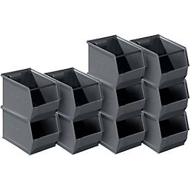 Sichtlagerkasten 14/7-3, recycelter Kunststoff, 10 Stück, 10 l