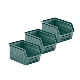 Sichtlagerkasten 14/7-4, Stahl, 3,5 l, graublau 2 + 1 GRATIS