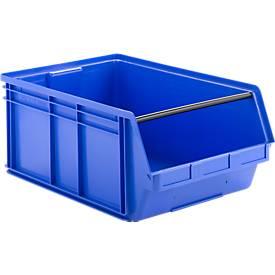 Sichtlagerkasten mit Tragestab SSI Schäfer LF 14/7, Polypropylen, L 715 x B 470 x H 300 mm, 74 l, blau