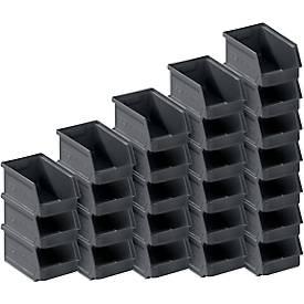 Sichtlagerkasten Serie LF, recycelter Kunststoff, 64 Stück, verschiedene Größen