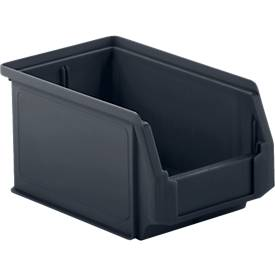 Sichtlagerkasten SSI Schäfer LF 211, recycelter Kunststoff, L 168 x B 103 x H 76 mm, 0,9 l, eisengrau, 25 Stück