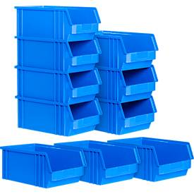 Sichtlagerkasten TF 14/7-4 SET, 10 Stück, Kunststoff, 2,6 l