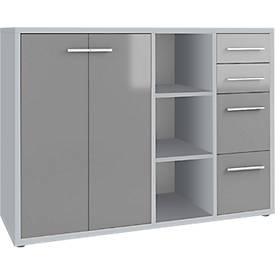 Sideboardcombinatie Player, 3 kastvakken, 4 schuifladen, 2 deuren, B 1557 mm, platinagrijs/grijs glas