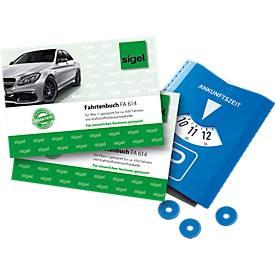 sigel® Fahrtenbuch FA614 für PKW 2 Stück + Parkscheibe GRATIS