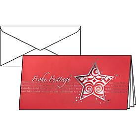 Sigel Weihnachtskarten Red Star, mit Umschlägen, Format DIN lang, 10 Stück