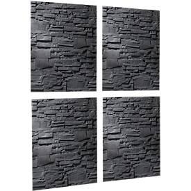 sigel® 4 Magnettafeln 4er SET, Glas, 480 x 480 mm, Schiefer-Stone