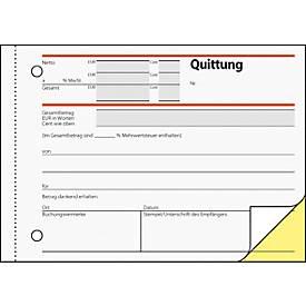 sigel® Quittungen mit MWSt.-Nachweis, DIN A6 quer, 2 x 40 Blatt, selbstdurchschreibend