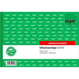 sigel® Urlaubsantrag SD045, DIN A5 quer, 2 x 40 Blatt, selbstdurchschreibend