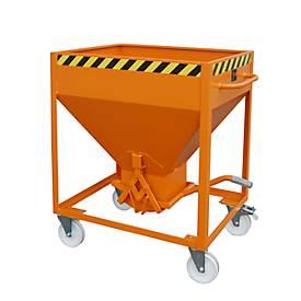 Silobehälter Typ SR 375, Räder, Inhalt 375 Liter, orange RAL 2000