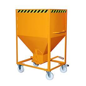 Silobehälter Typ SR 600, Räder, Inhalt 600 Liter, orange RAL 2000