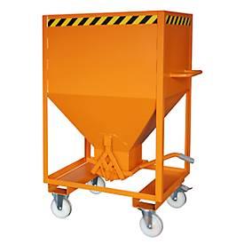Silobehälter Typ SRE 600, Scherenverschluss, Inhalt 600 Liter, lackiert, orange RAL 2000