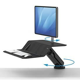 Sitz-Steh Workstation Fellowes Lotus RT, 1 Monitor 27″, höhenverstell-/ dreh-/schwenk-/neigbar, schwarz