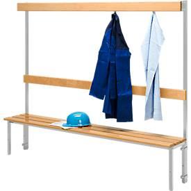 Sitzbank, für Umkleideräume, mit Rückwand, L 1995 mm