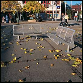 Sitzbank Jena, aus Stahl, weinrot