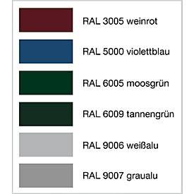 Sitzbank Karlsruhe, 4 Plätze,  aus Stahl und Holz, in RAL Farben pulverbeschichtet