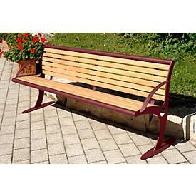 Sitzbank Mainz, Stahl mit Holzlattung, 4 Plätze, rostgeschützt, pulverbeschichtet