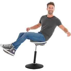 Sitzhocker ROVO SOLO mit Ring, 3D-Gestrick, weiß/schwarz