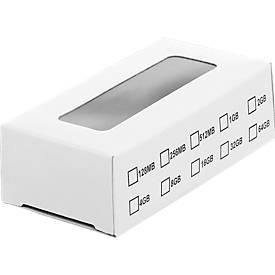 Slim Box für USB-Sticks, mit transparentem Sichtfenster, weiß