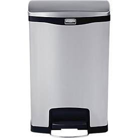 Slim Jim® Step- ON- Tretabfallbehälter, 50L Edelst., 2Eimer, schwarz