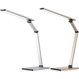 Slim led-bureaulamp, met 4-staps dimmer, verstelbare lampkop/-arm, space silver