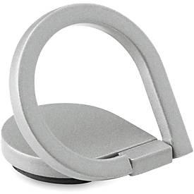 Smartphone Fingerhalter DROP RING, als Halter & Ständer einsetzbar, Klebeetikett, mit Werbefläche, silber
