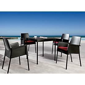Sommermöbel-Set Vigo, 4 Stapelsessel und ein 1 Tisch, schwarz