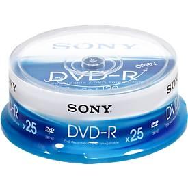 SONY® DVD-R, bis 16fach, 4,7 GB/120 min, 25er-Spindel