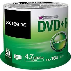 SONY® DVD+R, bis 16fach, 4,7 GB/120 min, 50er-Spindel