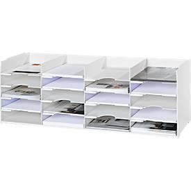 Sorteerstation, wit, 20 vakken voor 240 x 320 mm formaat, B 897 x D 304 x D 304 x H 313 mm.