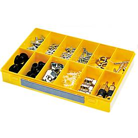 Sortimentskasten Deckel klar Modell 12 Unterteil gelb