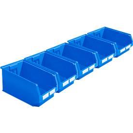 Spaarset 5 magazijnbakken met zichtopening LF 532, van PP, inhoud 23,5 l, blauw